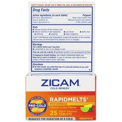 Zicam cold remedy rapidmelts with echinacea tablets, lemon lime - 25 ea