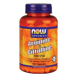 Nowfoods arginine and citrulline 500/250mg dietry supplements, Veg capsules - 120 ea