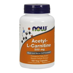 Nowfoods acetyl l-carnitine 500mg dietry supplements, Veg capsules - 100 ea