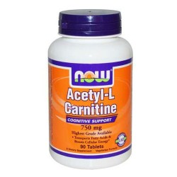 Nowfoods acetyl l-carnitine 750mg dietry supplements, Tablets - 90 ea