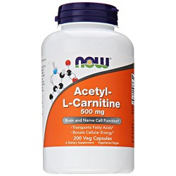 Nowfoods acetyl l-carnitine 500mg dietry supplements, Veg capsules - 200 ea
