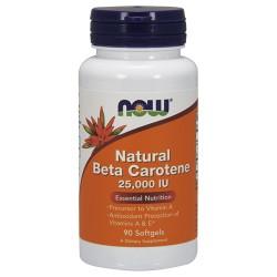 Nowfoods natural beta carotene 25000 iu dietry supplements, Softgels - 90 ea