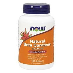 Nowfoods natural beta carotene 25000 iu dietry supplements, Softgels - 180 ea