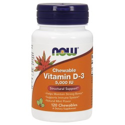 Nowfoods vitamin d-3 5000 iu dietry supplements, Chewables - 120 ea