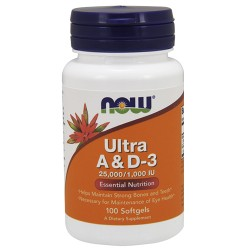 Nowfoods ultra a and d-3 25000/1000 iu dietry supplements, Softgels - 100 ea