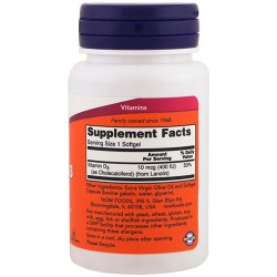 Nowfoods vitamin d-3 400 iu dietry supplements, Softgels - 180 ea
