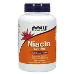 Nowfoods niacin 500mg sustained release dietry supplements, Tablets- 250 ea