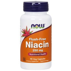 Nowfoods flush free niacin 250mg dietry supplements, Veg capsules - 90 ea