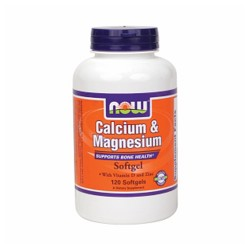 NowFoods Calcium and magnesium with Vitamin D and zinc softgels - 120 ea