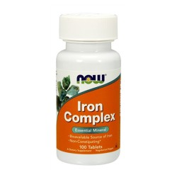 Now foods iron complex with vitamins herbs non-constipating vegetarian tablets - 100 ea