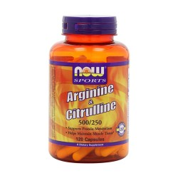 Now sport arginine & citrulline, 500/250, veg capsules - 120 ea