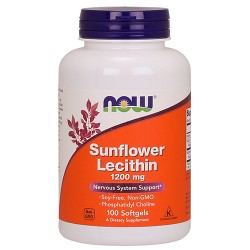 Now foods sunflower lecithin 1200 mg softgels - 200 ea