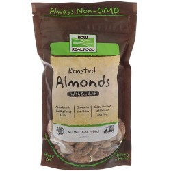 Now foods Almonds, Roasted and Salted - 8 oz