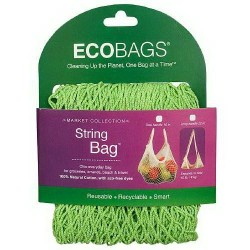 Ecobags market collection string bag , lime  -  10 pack