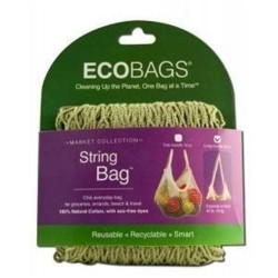 Eco bags long handle natural cotton string bag  washed blue - 1 ea