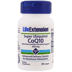 LifeExtension super Ubiquinol CoQ10 200 mg softgels - 30 ea