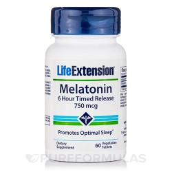 LifeExtension Melatonin 6 hour timed release 750 mcg vegeterian capsules - 60 ea
