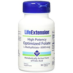 LifeExtension High potency optimized folate L- methylfolate 5000 mcg vegetarian tablets - 30 ea