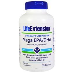 LifeExtension Mega EPA/DHA molecularly distilled softgels - 120 ea