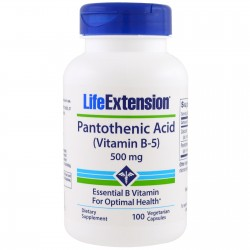 LifeExtension Pantothenic Acid Vitamin B-5, 100 Veg Capsules