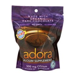 Adora calcium supplement disk, 500 mg organic dark chocolate - 30 disks