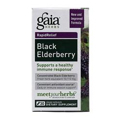 Gaia Herbs Black Elderberry Vegetarian Capsules, immune response - 30 ea