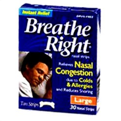 Breathe Right Nasal Strips, Tan, Relieves Nasal Congestion, Large - 30 Ea
