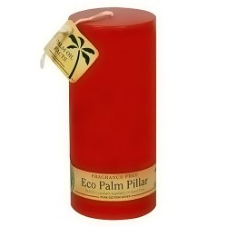 Aloha Bay Eco Palm Fragrance Free Red Candle Pillars - 6 ea
