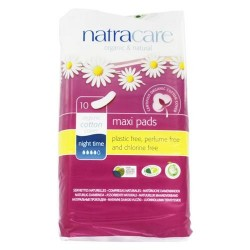 Natracare organic cotton natural feminine maxi pads night time long - 10 pad(s)