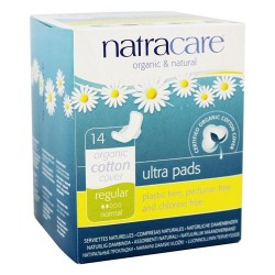 Natracare organic cotton natural feminine ultra pads regular with wings - 14 pads