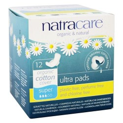 Natracare organic cotton natural feminine ultra pads super with wings - 12 pads