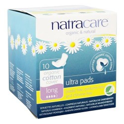 Natracare organic cotton natural feminine ultra pads long with wings - 10 pads