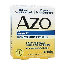 AZO Yeast Homeopathic Medicine for Vaginal Yeast Infection 400 Mg.Tablets - 60 Ea