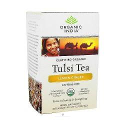Organic India Tulsi Herbal Supplement Tea Bags,Lemon Ginger - 18 ea, 6 pack