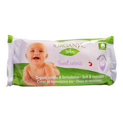 Organyc baby wipes - 100 percent organic cotton - sweet caress - 60 ea