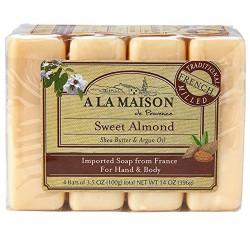 A La Maison de provence sweet almond 4 bars - 3.5 oz