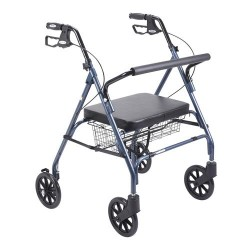 Drive Medical Heavy Duty Bariatric Walker Rollator with Large Padded Seat, Blue - 1 ea