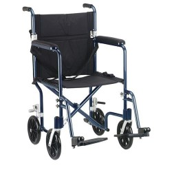 Drive Medical Flyweight Lightweight Folding Transport Wheelchair, 19 inches, Blue Frame, Black Upholstery - 1 ea