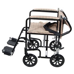 Drive Medical Flyweight Lightweight Folding Transport Wheelchair, 17 inches, Black Frame, Tan Plaid Upholstery - 1 ea
