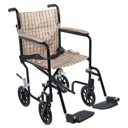 Drive Medical Flyweight Lightweight Folding Transport Wheelchair, 19 inches, Black Frame, Tan Plaid Upholstery - 1 ea