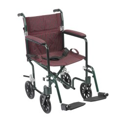 Drive Medical Flyweight Lightweight Folding Transport Wheelchair, 19 inches, Green Frame, Burgundy Upholstery - 1 ea