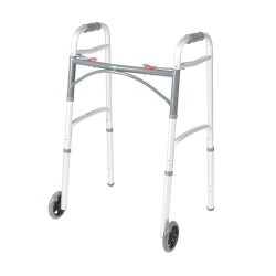 Drive Medical Deluxe Two Button Folding Walker with 5 inches Wheels - 1 ea