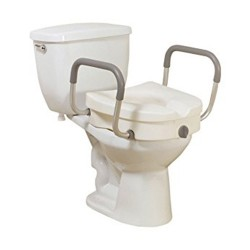 Drive Medical Raised Toilet Seat with Removable Padded Arms - 1 ea