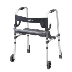 Drive Medical Clever Lite LS Walker Rollator with Seat and Push Down Brakes - 1 ea