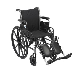 Drive Medical Cruiser III Light Weight Wheelchair with Flip Back Removable Arms, Desk Arms, Elevating Leg Rests, 20 inches Seat - 1 ea