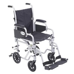 Drive Medical Poly Fly Light Weight Transport Chair Wheelchair with Swing away Footrests, 16 inches Seat - 1 ea