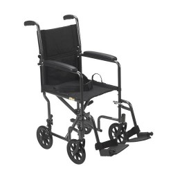 Drive Medical Lightweight Steel Transport Wheelchair, Fixed Full Arms, 19 inches Seat - 1 ea