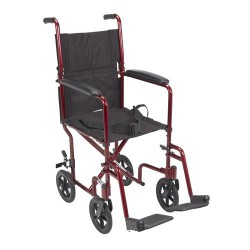 Drive Medical Lightweight Transport Wheelchair, 17 inches Seat, Red - 1 ea