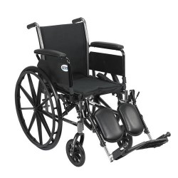 Drive Medical Cruiser III Light Weight Wheelchair with Flip Back Removable Arms, Full Arms, Elevating Leg Rests, 16 inches Seat - 1 ea
