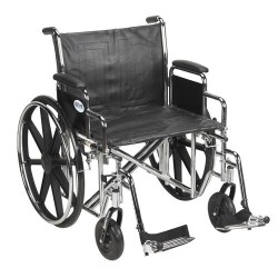 Drive Medical Sentra EC Heavy Duty Wheelchair, Detachable Desk Arms, Swing away Footrests, 22 inches Seat - 1 ea